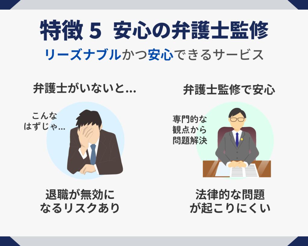 退職代行サービスの特徴・メリット⑤安心の弁護士監修